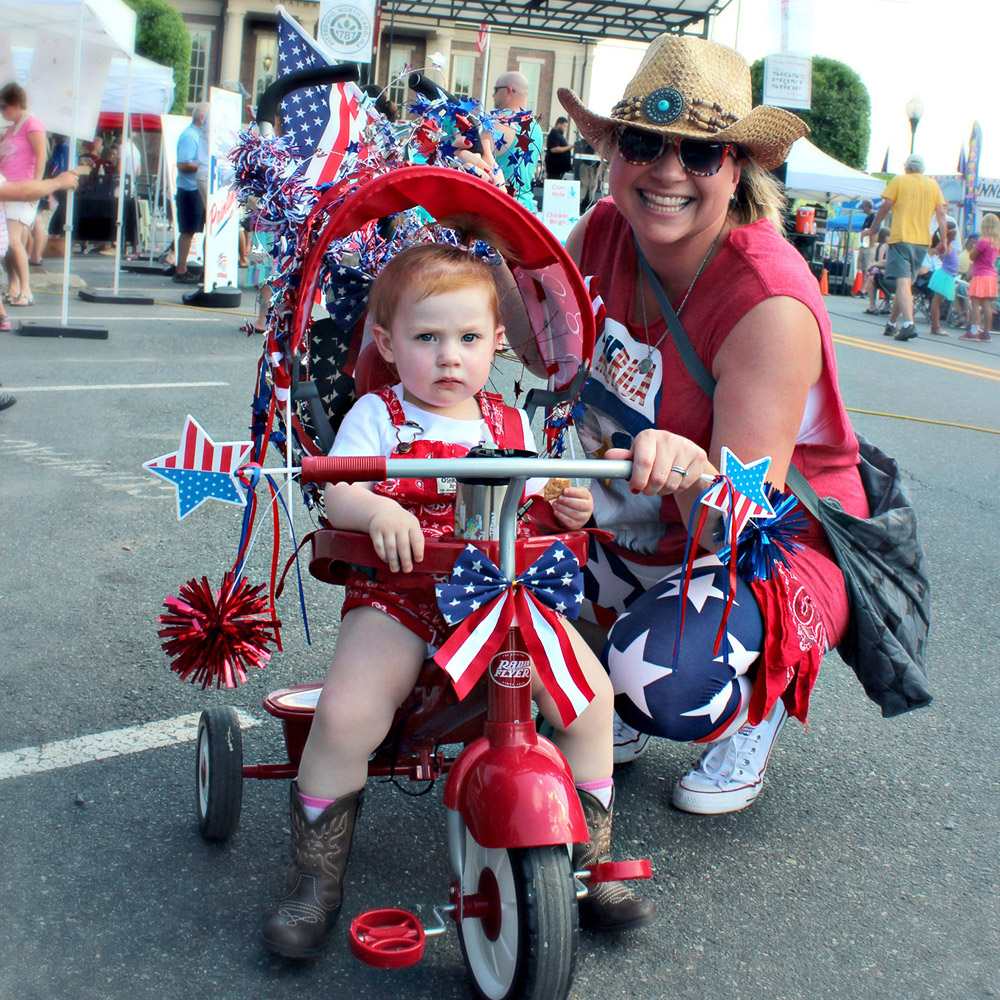 mother and child in red white and blue