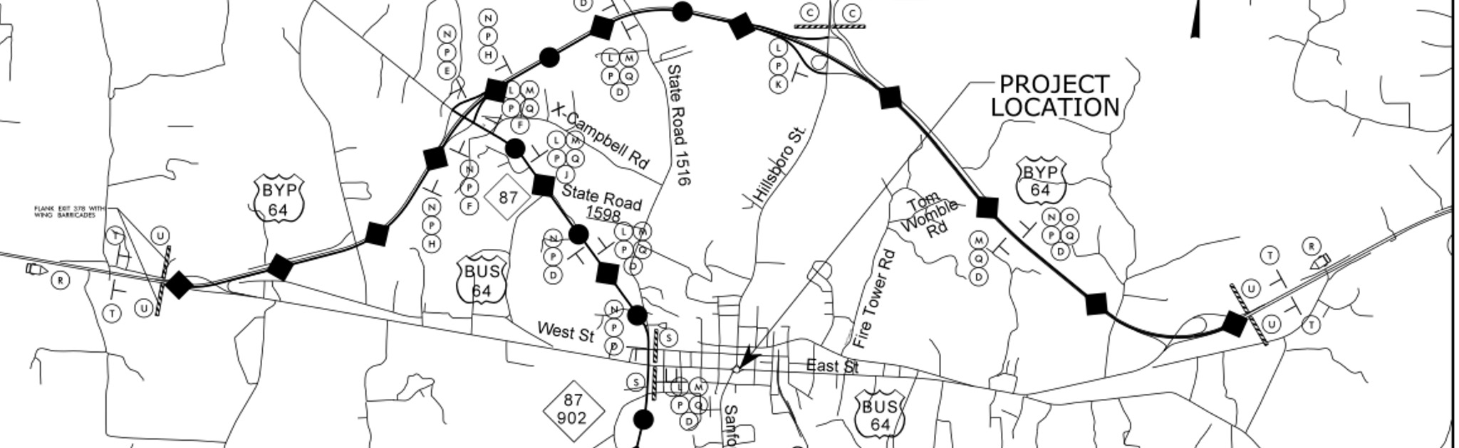 Detours during construction to narrow the pittsboro traffic circle